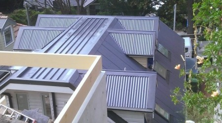 Corrugated roofing with five Dorma windows